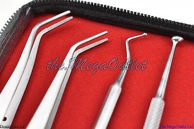 Pro Set Dental Dentist Scaler Tweezers Instruments Pick Tool Kit Leather Case