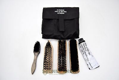 German Army Boot Cleaning Kit shoe care polish military set of brushes in pouch