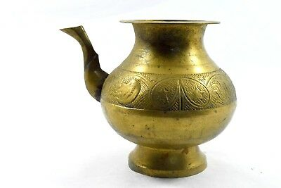 Antique Indo Islamic Beautiful Brass Water Pot / Rare Old Spout Vessel. G3-95 US 4