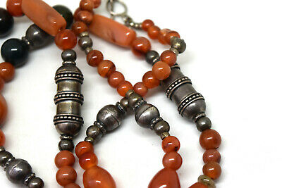 "Antique Middle Eastern 900 Silver With Carnelian Beads Necklace 32"" Long 5"