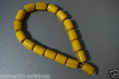 Vintage Turkish Islamic Bakelite Honey Yellow Catalin Amber Rosary Beads Damari 2