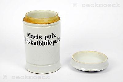 "Altes Apotheken Keramikgefäß hellgrau ""Macis pulv."" ""Muskatblüte"""