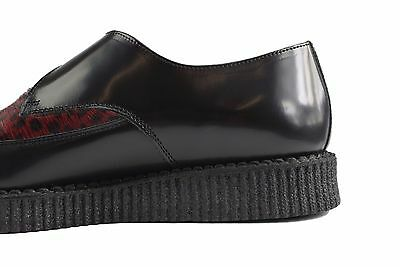 Steel Ground Shoes Black Leather Red Leopard Hair Creepers Monk Buckle Pointed