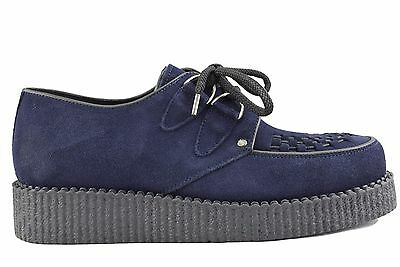 Steel Ground Shoes Blue Navy Suede Creepers Low Sole D Ring Casual Sc400Z142