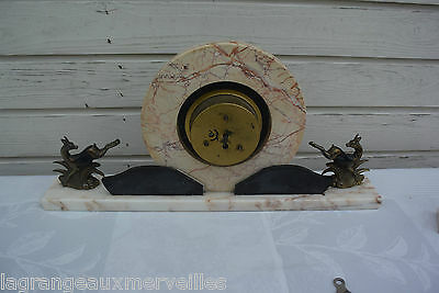 E1 Ancienne horloge de cheminée en marbre noir et rose old clock