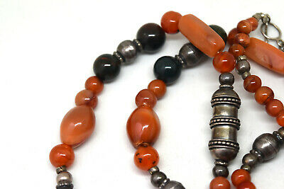 "Antique Middle Eastern 900 Silver With Carnelian Beads Necklace 32"" Long 2"