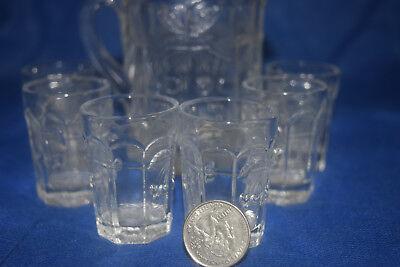 Miniature Mosser Glass Child's Set - Pitcher & 6 Glasses  - Cherry Thumbprint