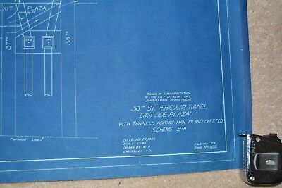 """EXTREMELY RARE MANHATTAN NYC 38TH STREET TUNNEL BLUEPRINT 1930 24.5"""" X 32.5"""" in 2"""