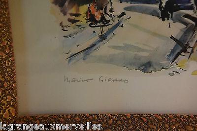 Estampe multique aquarelle PARIS PLACE DU TERTRE SACRE COEUR MARIUS GIRARD