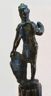 Rare ANCIENT ROMAN BRONZE Sculpture of Gladiator c. 300 AD  Antique Wood Stand 9