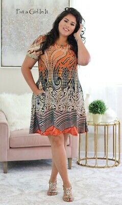 PLUS SIZE Womens PINK PAISLEY SILKY LOOSE FIT TUNIC DRESS POCKETS 1X 2X 3X USA