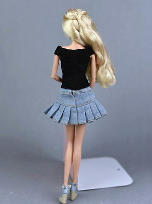"""Blue Jeans Casual Wear Clothes For 11.5"""" Doll Kids Toy A-line Skirt For 1/6 Doll 5"""