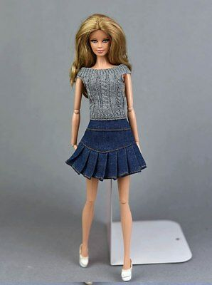 """Blue Jeans Casual Wear Clothes For 11.5"""" Doll Kids Toy A-line Skirt For 1/6 Doll 6"""