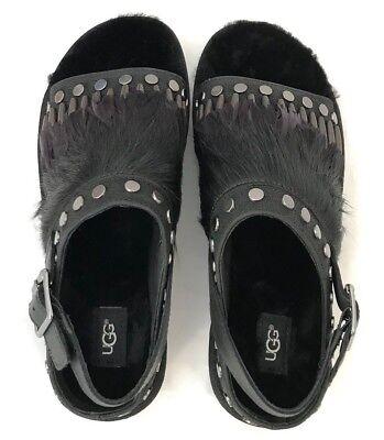 8a527bcf448 UGG BIKER CHIC Womens Sandals Black Studded Feather Fur Slingback