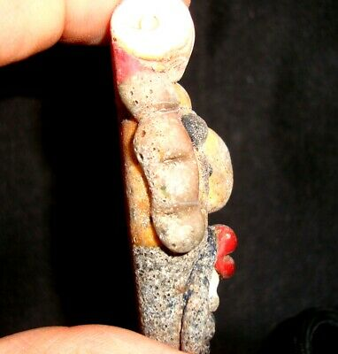 Ancient Phoenician Mosaic Glass Bead Bearded Bottle in The Head Pendant Rare 808 9