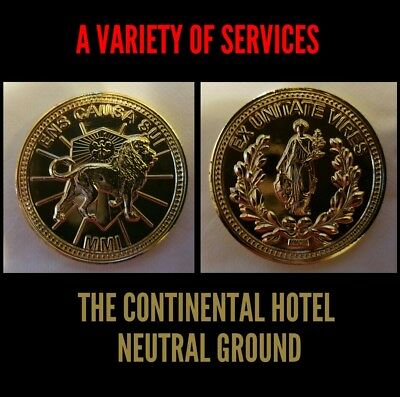 The Continental Hotel John Wick Business Card Gold Liquid Metal Pop Reeves Coin  5