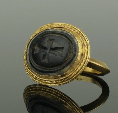 BEAUTIFUL LARGE ANCIENT BYZANTINE GOLD INTAGLIO RING CIRCA - 9th Century AD 3