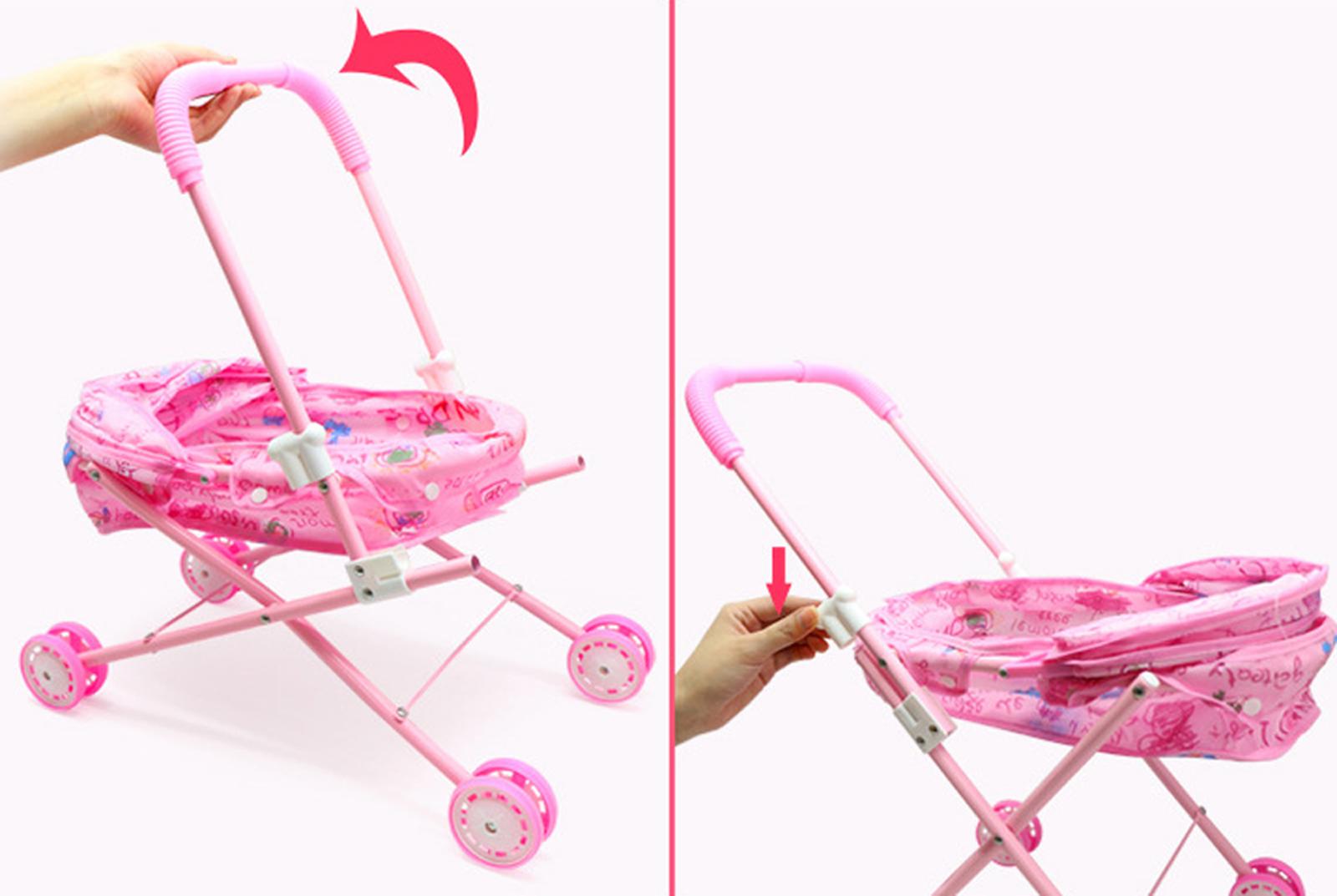 Baby Kids child Dolls Buggy Stroller Jogger Dolls Pram Pushchair Girls Toy UK 3