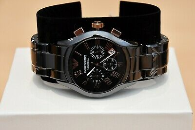 New Emporio Armani Men's Watch Ar1410 Black/Rose Gold Ceramica Chronograph 7