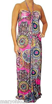 NEW Womens Multi color Red Floral Maxi Summer Beaded Halter Long DRESS S M L 3
