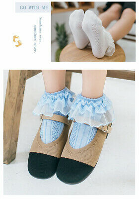 Girls Baby Toddler Kids Frilly Lace Trim Ankle School Party Wedding Socks 9m-10y 2