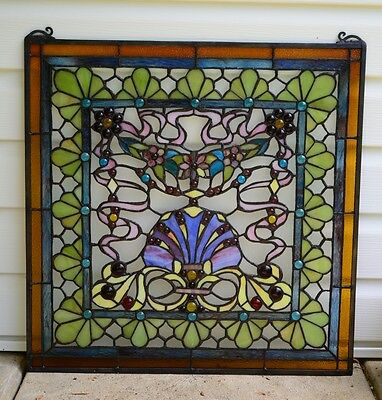 "24"" x 24"" Colorful Tiffany Style stained glass Jeweled window panel ! 11"