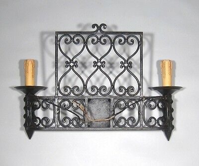 "Large Vintage French Wrought Iron Sconce, ""Chateau"" Style, 19 x 13 inches 8"