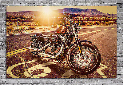 leinwand bilder xxl harley davidson motorrad deko wandbild amerika route 66 eur 39 00. Black Bedroom Furniture Sets. Home Design Ideas