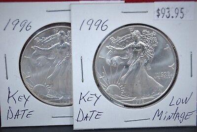 1996 Silver American Eagle BU 1 oz Coin US $1 Dollar Uncirculated Key Date *096 4