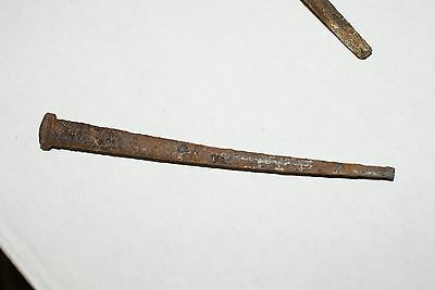 """200 (10 lbs) ANTIQUE (1800'S) REAL WROUGHT IRON SQUARE 4.5"""" LONG NAILS 2"""