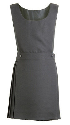 Pleated Pinafore Dress School Uniform Girls Kids Black Grey Navy Green Wrapover 6
