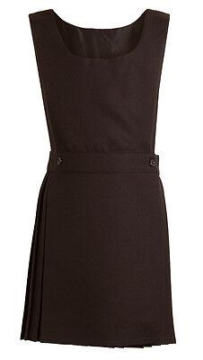 Pleated Pinafore Dress School Uniform Girls Kids Black Grey Navy Green Wrapover 7