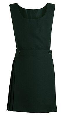 Pleated Pinafore Dress School Uniform Girls Kids Black Grey Navy Green Wrapover 4