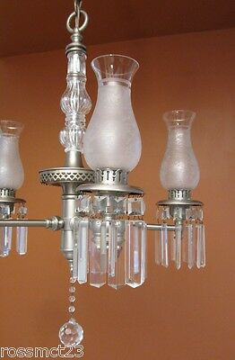 Vintage Lighting antique 1940s pewter crystal chandelier   Rare Very Beautiful 8