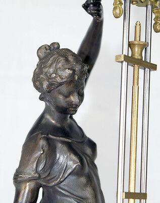 Beautiful Ansonia Cut 8 Day Movement Brass Huntress Lady Mystery Swinger Clock 8