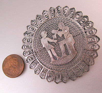 1920s Vintage Egyptian Revival Sterling Silver Filigree Brooch Pin Jewelry
