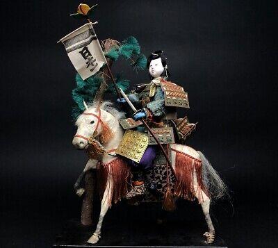 Antique SAMURAI Japanese Warrior MOMOTARO MUSHA Armor Suit YOROI NINGYO Horse 2