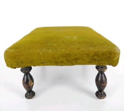 Antique 1800's Victorian Green Velvet Wooden Footstool 4