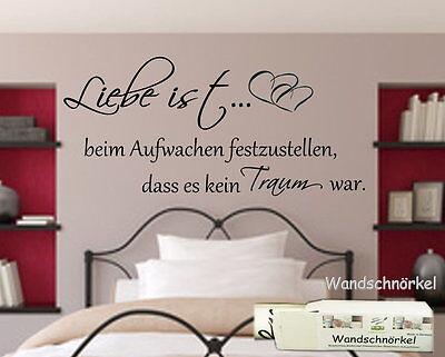 WANDTATTOO SCHLAFZIMMER Liebe ist beim Aufwachen..Wandspruch Wandaufkleber