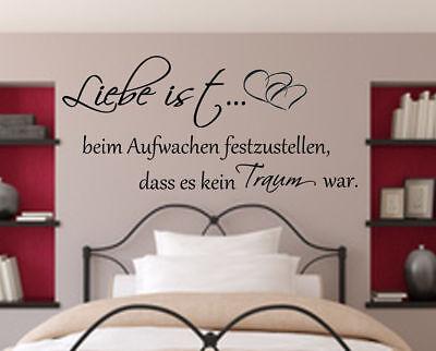 WANDTATTOO WANDAUFKLEBER Spruch Schlafzimmer Liebe ist beim ...