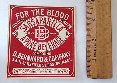 Lot of 3 Antique QUACK MEDICINE Bottle Labels SARSAPARILLA For the Blood BOSTON 5