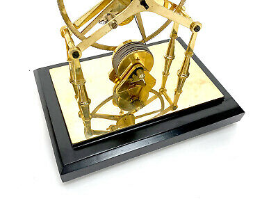 24K Gold Plated 8 Day Great Wheel Fusee Driven Porcelain Dial Skeleton Clock 9