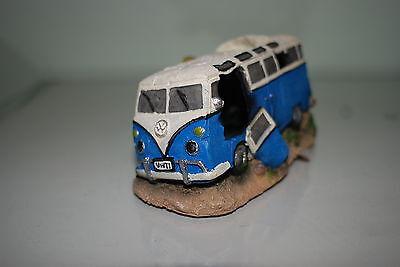 Aquarium VW Camper Van Blue Decoration With Bubble Exhaust 16.5x11x8.5 cms 2