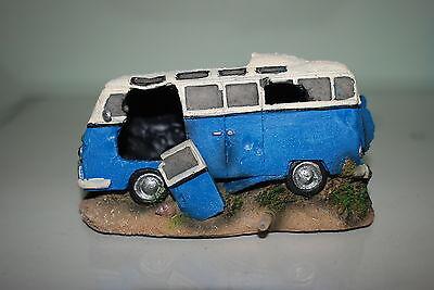 Aquarium VW Camper Van Blue Decoration With Bubble Exhaust 16.5x11x8.5 cms 3