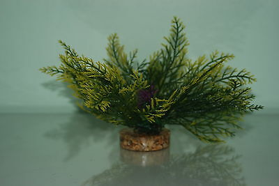 Aquarium Green Yellow Purple Plant 15 cms Fern Style With Gravel Weighted Base 2