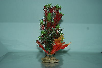 Aquarium Plants Pebble base 8cm Base and 25 cms High Green Red Orange Colour 2