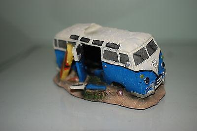 Aquarium VW Camper Van Blue Decoration With Bubble Exhaust 16.5x11x8.5 cms 4