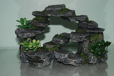 Aquarium Realistic Rocky Arc & Plants Ornament 25 x 16 x12 cms For All Aquarium 4