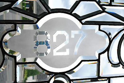 "Antique Fully Beveled Glass Transom Window with 827 Number in Center 63"" 3"