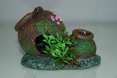Aquarium Old Rustic Pot & Plants Decoration 12.5 x 8.5 x 9 cms 2